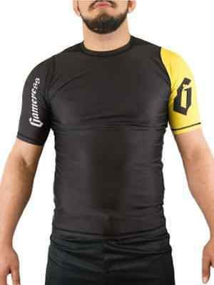 Gameness Black Yellow Short Sleeve Rash Guard