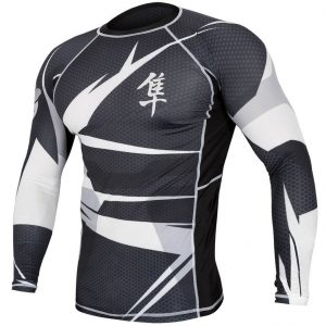 Hayabusa Metaru Rash Guard Long Sleeve Black White