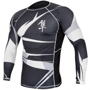 Hayabusa Metaru Rash Guard Long Sleeve Black White