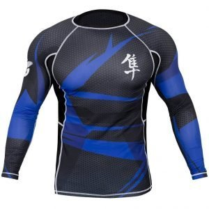 Hayabusa Metaru Rash Guard Long Sleeve Blue Black