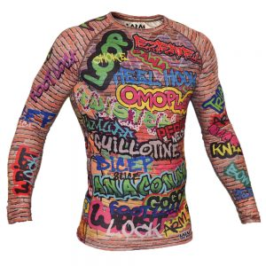 Larai Fight Wear Graffiti Subz Rash Guard BJJ No-Gi MMA Braziian Jiu Jitsu Compression Top Valur Uk International worldwide shipping manto tatami scramble gameness