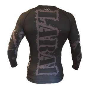 Larai Fight Wear Black Geo Rash Guard BJJ No-Gi Brazilian Jiu Jitsu MMA Rashguard compression top iuk worldwide shipping tatami manto scramble venum hayabusa