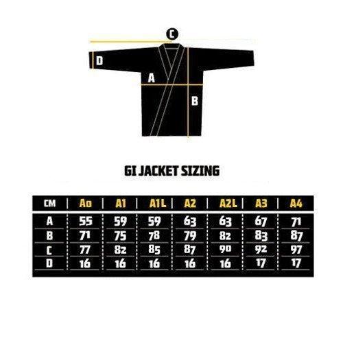 Manto X2 BJJ Gi Size Chart