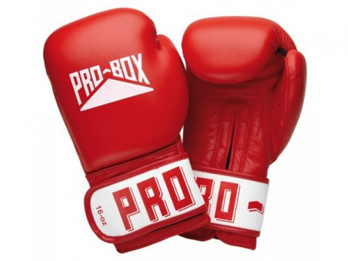 Pro-Box Leather Club Essentials Gloves in Red.