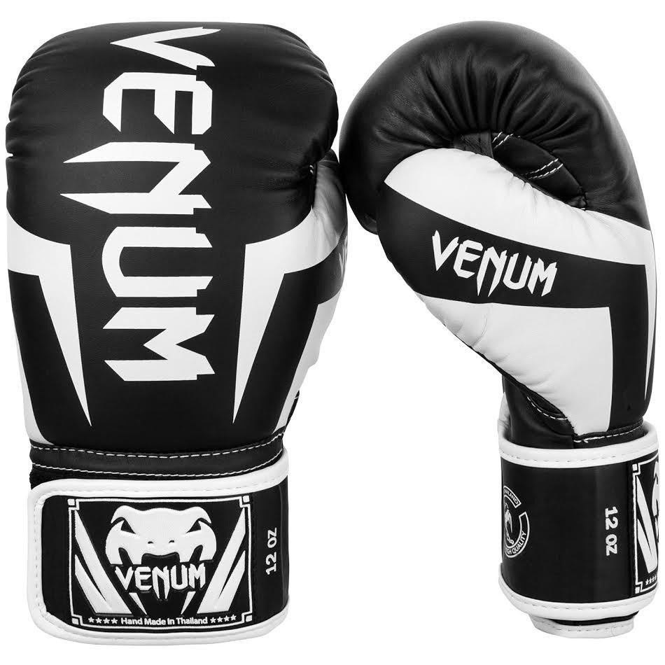 Venum elite boxing gloves in black white