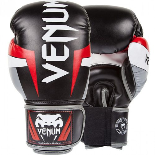 Venum Elite Boxing Gloves Red Black Grey