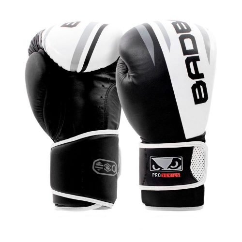 Bad Boy Boxing Gloves Leather Pro Series Advanced White Black