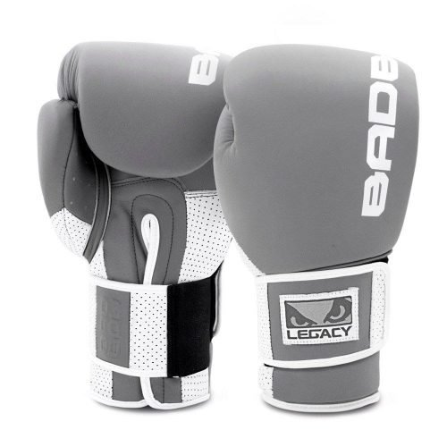 Bad Boy Boxing Gloves Legacy Prime Leather Grey White