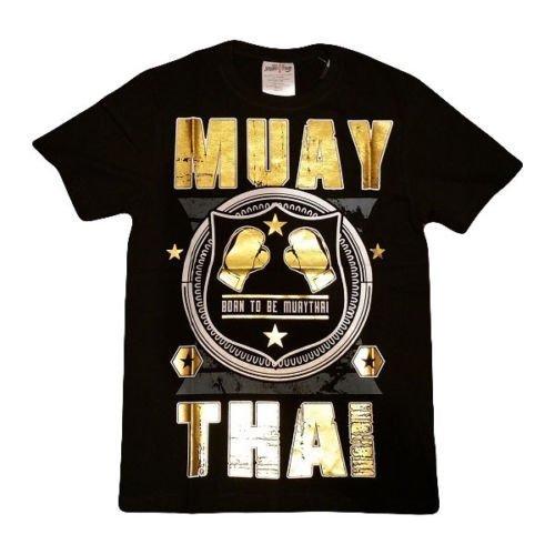 Muay Thai Premium Glove Design T-Shirt Black Gold