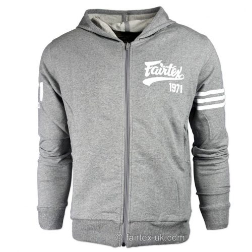 Fairtex FHS18 Grey Zip Up Sport Hoodie
