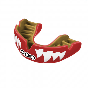 Image of opro mouth guard power fit adult aggression jaws in red