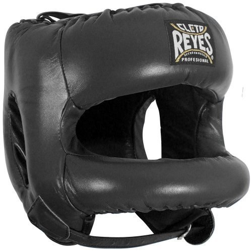 Cleto Reyes Black Head Guard with Nylon Round Face Bar - Boxing Head Guard