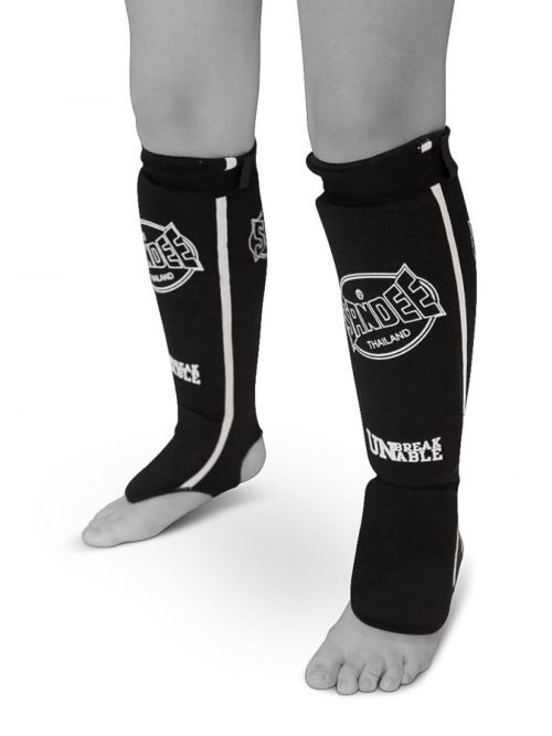 Sandee Cotton Slip On Competition Shin Guards Black