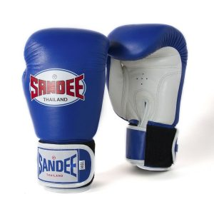 Sandee Authentic Leather Boxing Gloves Blue White