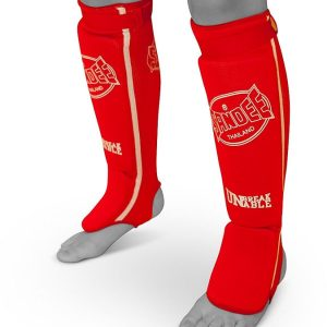 Sandee Cotton Slip On Competition Shin Guards Red