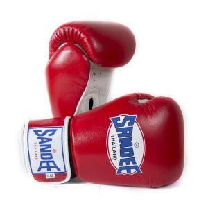 Sandee Boxing Gloves Authentic Leather Red White