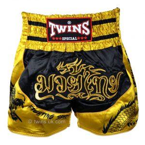 Twins Black Gold Dragon Muay Thai Shorts