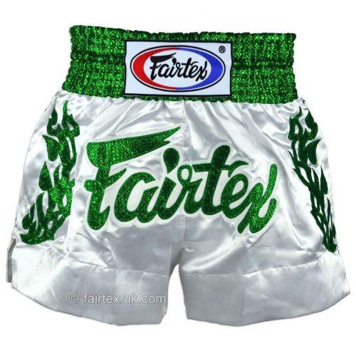 Fairtex Heavens Grass Muay Thai Shorts White Green BS0648