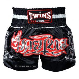 Twins Muay Thai Shorts in Black Silver