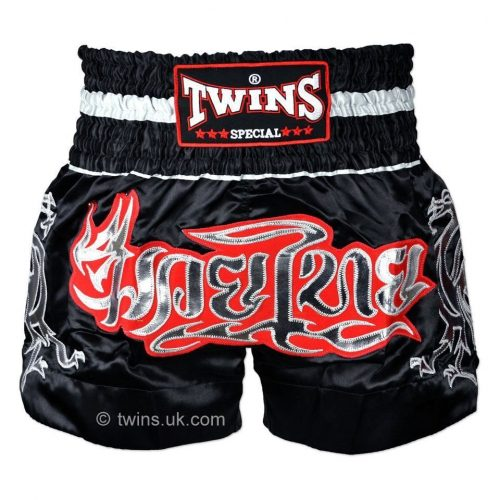 Twins Muay Thai Shorts in Black Silver