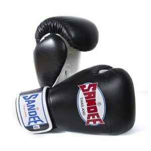 Sandee Boxing Gloves Authentic Leather Black White