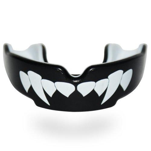 SafeJawz Extro Series Self-Fit Fangz Mouth Guard Black White