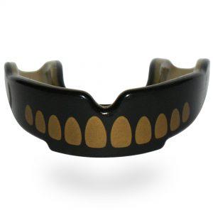 SafeJawz Extro Series Self-Fit 'Goldie' Mouth Guard Black gold