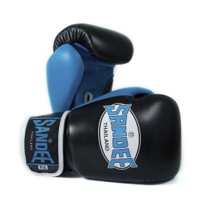Sandee Neon Leather Boxing Gloves Black Blue