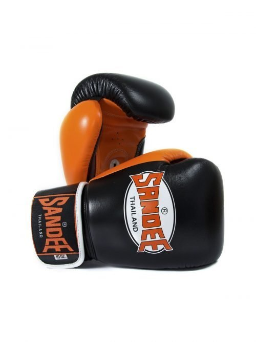 Sandee Neon Leather Boxing Gloves Black Orange