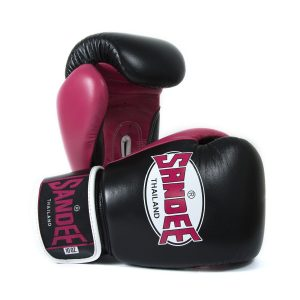 Sandee Neon Leather Boxing Gloves Black Pink