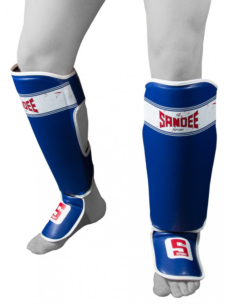 Sandee Authentic Blue Leather Boot Shin guards Muay-Thai Boxing Adults