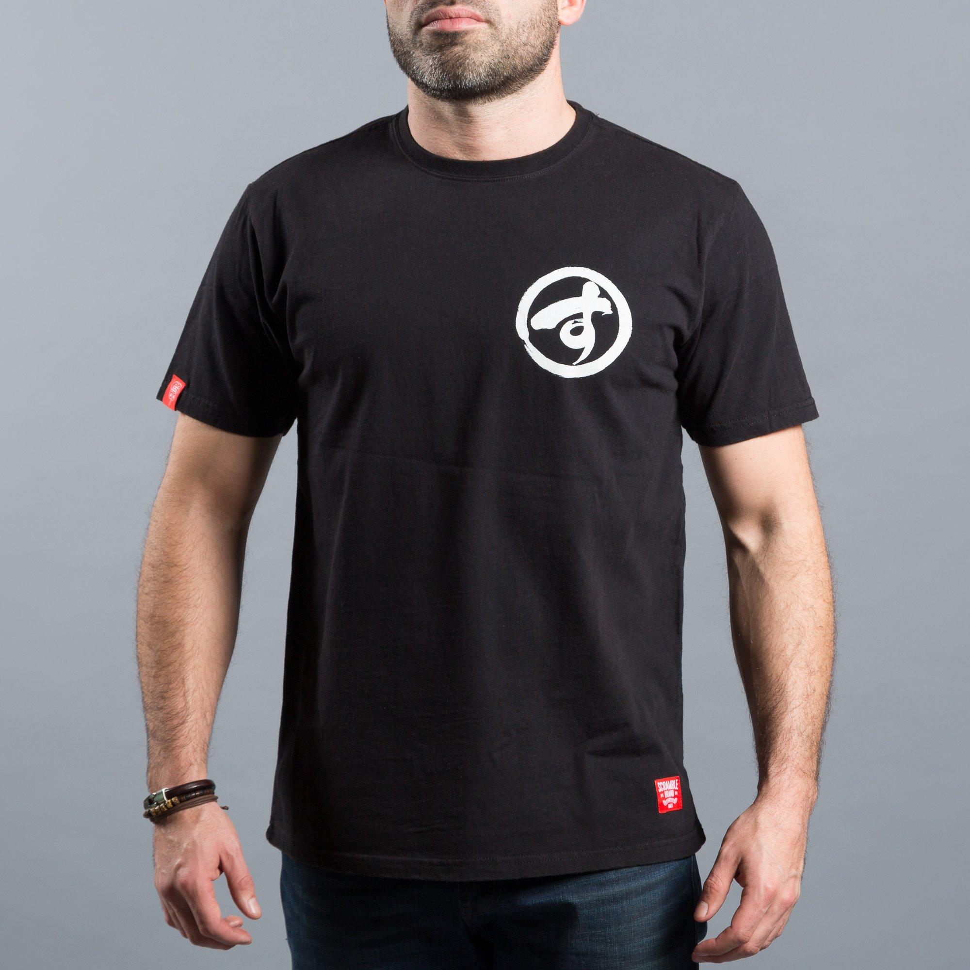 Scramble T-Shirt Brush Logo Tee Black BJJ Jiu Jitsu No Gi Grappling Casual Top