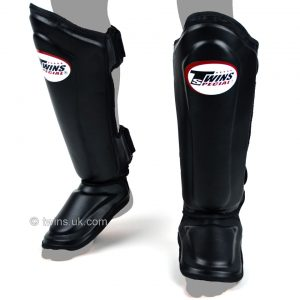 Twins Double Padded Shin Guards Black Leather