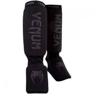 Venum Kontact Shin Instep Shin Guards Black on Black