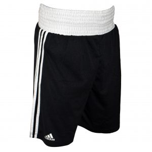 Image of adidas boxing shorts base punch black. By the Minotaur Fight Store.