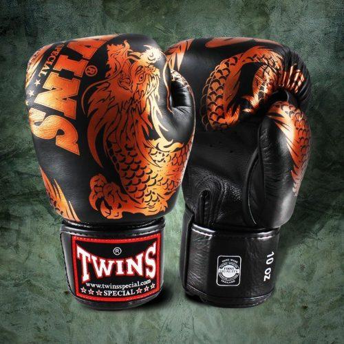 Twins Black Bronze Flying Dragon Boxing Gloves
