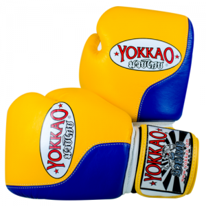 Yokkao Boxing Gloves Double Impact Gloves Yellow Blue