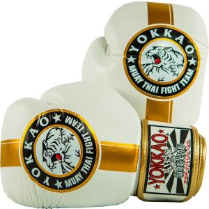 Yokkao Official Fight Team Boxing Gloves White Gold