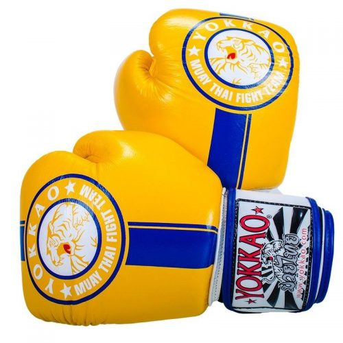 Yokkao Official Fight Team Boxing Gloves Yellow Blue