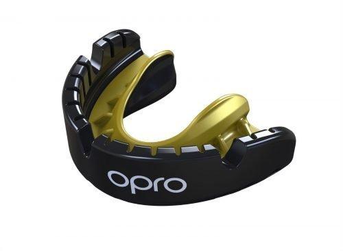 OPRO Gen 4 Mouth Guard Gold Level Braces Black Gold