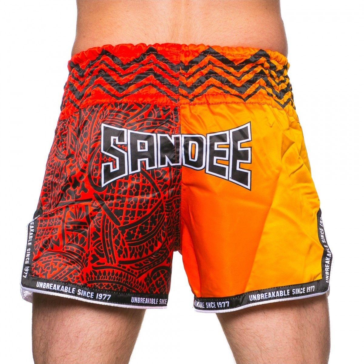 Sandee Warrior Thai Boxing Shorts Red Orange Muay Thai Kickboxing K1 Striking