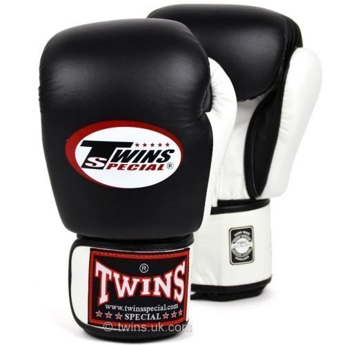Twins Boxing Gloves 2-Tone Black White - twins gloves