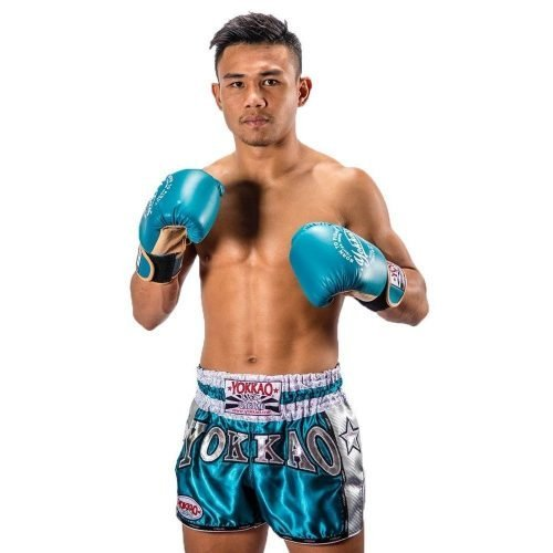 YOKKAO Vintage Carbon Shorts Blue Silver - Thai Boxing Shorts