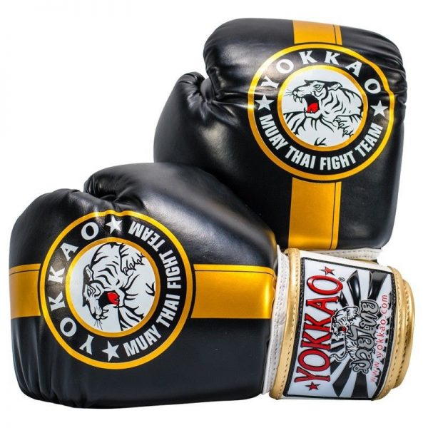 YOKKAO Official Fight Team Boxing Gloves Black Gold - yokkao boxing gloves