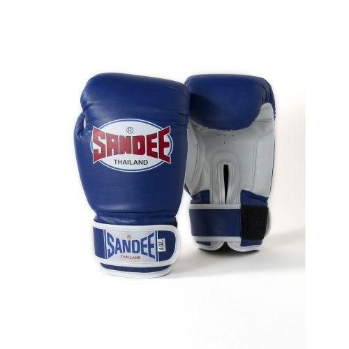 Sandee Kids Authentic Velcro Blue & White Synthetic Leather Boxing Gloves