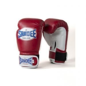Sandee Kids Authentic Velcro Red & White Synthetic Leather Boxing Gloves