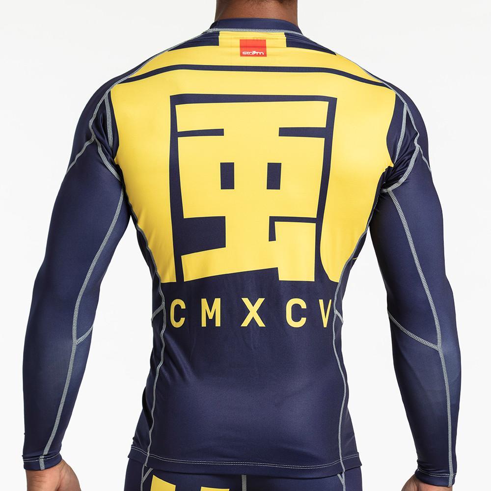 7a0d30d4d1 Storm 'Kanji' Long Sleeve Rash Guard - Navy Gold | Minotaur Fight Store