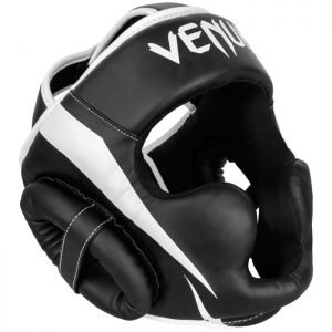 Venum Elite Head Guard Black White