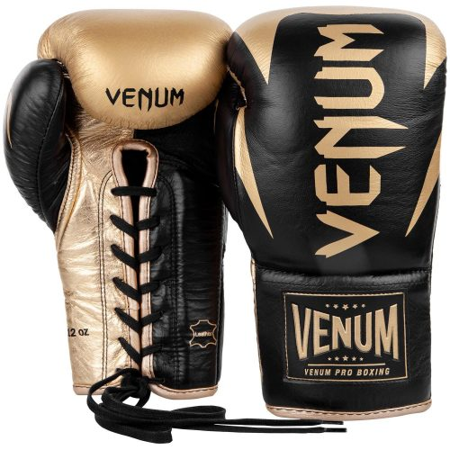 Venum Hammer Pro Boxing Gloves Black Gold - With Laces