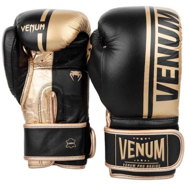 Venum Shield Pro Boxing Gloves Black Gold Velcro